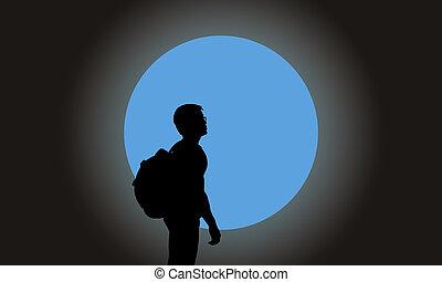 silhouette, wanderer, mit, honigraum, vollmond, hintergrund
