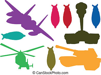 Silhouette war weapons - Silhouette vector illustration of...