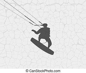 silhouette, water., essor, illustration., surfeur, vecteur