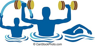 silhouette water gymnastics physiotherapy with dumbbells