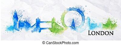 Silhouette watercolor London