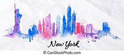 Silhouette watercolor New york