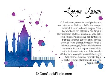 Silhouette watercolor of a medieval castle
