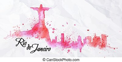 Silhouette Rio de Janeiro city watercolor painted with spray droplets with streaks landmarks in pink and purple colors