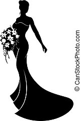 Silhouette Wedding Gown Bride - Bride in silhouette wearing...