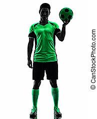 silhouette, weißer hintergrund, mann, spieler, freigestellt, schatten, junger, fußball