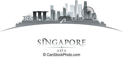 silhouette, weißer hintergrund, stadt skyline, singapur