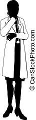 silhouette, weiblicher doktor