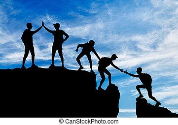 silhouette, werkende , gezwoeg, vijf, klimmers, team, overwinnen