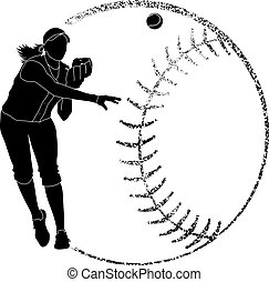 silhouette, werpen, softbal