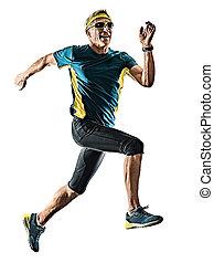 silhouette, wh, läufer, jogger, freigestellt, bemannen lauf...