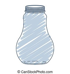 silhouette wide glass bottle with blue stripes