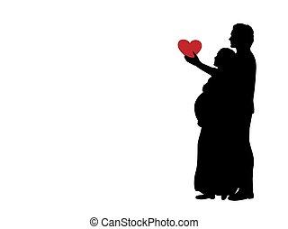 silhouette, wife., schwanger, ehemann, geliebt, herz, gibt, ...