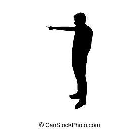 silhouette, wijzende, man