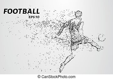 silhouette, wind., football, particules, joueur, porte, circles.