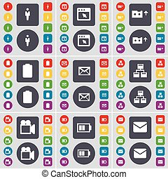 Silhouette, Window, Cassette, Battery, Message, Network, Film camera icon symbol. A large set of flat, colored buttons for your design. Vector