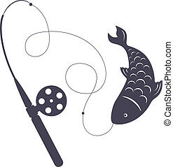 silhouette winter fishing rod and fish on the hook