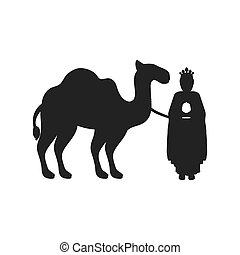 silhouette wise man with camel icon flat