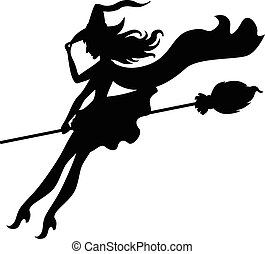Silhouette witch flying down