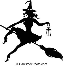 Silhouette witch flying on broom and holding lantern