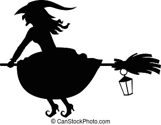 Silhouette witch flying on broom and lantern