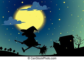 Silhouette witch flying on broom at night
