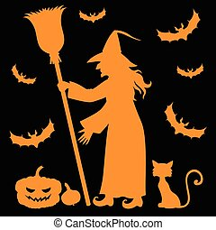 Silhouette witch holding broom on black background