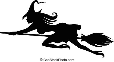 Silhouette witch on broomstick flying fast