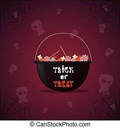 Silhouette Witch Pot With Potion And Skull Happy Halloween Banner Holiday Decoration Horror Party Greeting Card