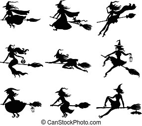 Silhouette witches set - Vector illustrations of silhouette...