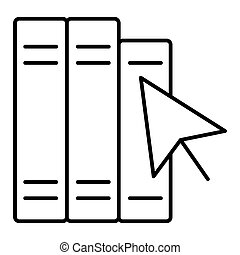 Silhouette with black outline books with cursor arrow isolated on white background. Internet knowledge flat icon. Vector illustration. Online reading logo.