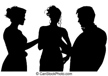 Silhouette With Clipping Path of Friends