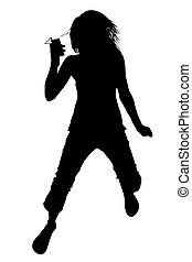 Silhouette With Clipping Path of Girl with Video Music...