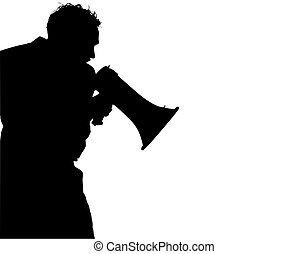 Silhouette over white with clipping path. Man with megaphone / bull horn yelling