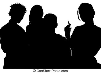 Silhouette With Clipping Path of Nurses