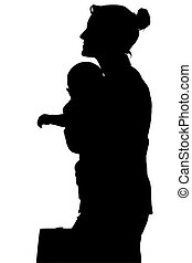 Silhouette With Clipping Path of Business Woman with Baby -...