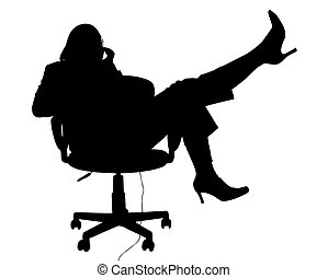 Silhouette With Clipping Path of Woman in Chair on Phone
