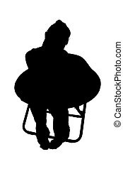 Silhouette With Clipping Path of Woman in Chair