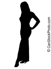 Silhouette With Clipping Path of Woman in Formal Dress