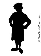 Silhouette With Clipping Path of Woman in Rollers and Slippers.