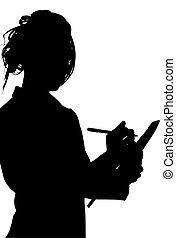 Silhouette With Clipping Path of Woman Writing on Tablet -...