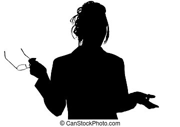 Silhouette With Clipping Path of Woman with Glasses