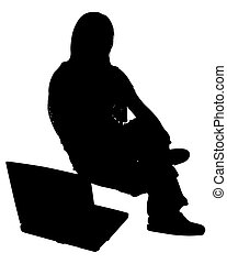 Silhouette With Clipping Path of Woman with Laptop