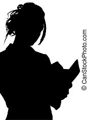 Silhouette With Clipping Path of Woman Writing in Book