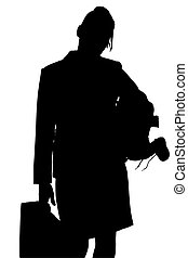 Silhouette With Clipping Path of Working Mom - Silhouette...