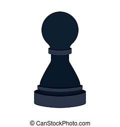 silhouette with figure pawn of chess vector illustration