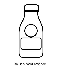 silhouette with glass bottle of milk