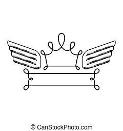 silhouette with heraldic crown simbol