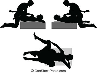 silhouette with kama sutra positions on white background