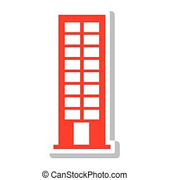 silhouette with office building in light red